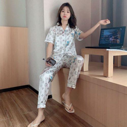 PJ4607-whitevl Piyama Celana Panjang Sutra Lembut
