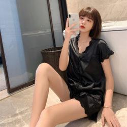 PJ4608-black Baju Tidur Set Wanita Bahan Sutra Lembut