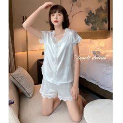 PJ4608-white Baju Tidur Set Wanita Bahan Sutra Lembut