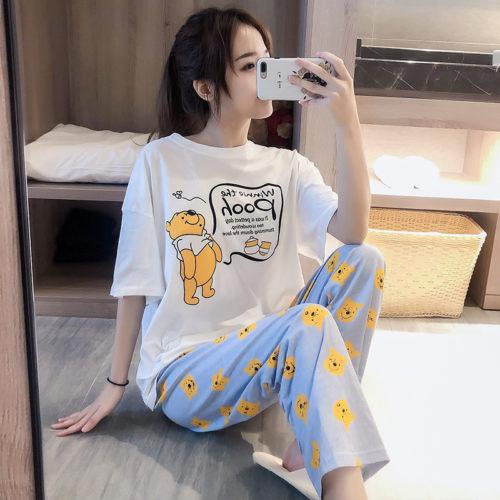 PJ4609-pooh Baju Tidur Set Wanita Cantik Imut Terbaru