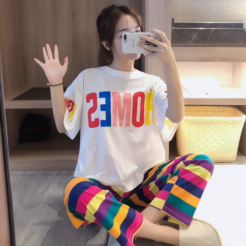 PJ4609-rainbowstripped Baju Tidur Set Wanita Cantik Imut Terbaru