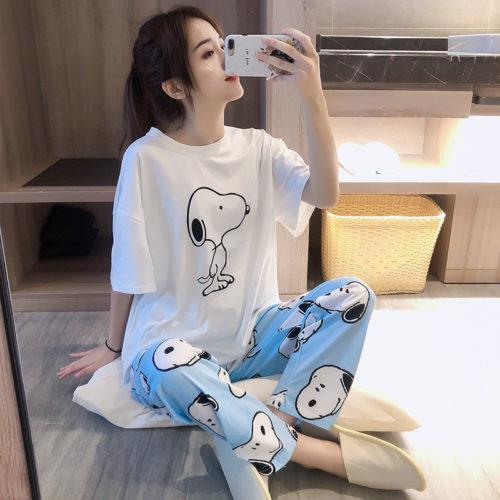 PJ4609-snoopy Baju Tidur Set Wanita Cantik Imut Terbaru