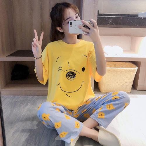 PJ4609-yellowbear Baju Tidur Set Wanita Cantik Imut Terbaru