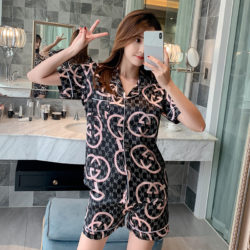 PJ4610-blackgg Baju Tidur Set Wanita Bahan Sutra Lembut