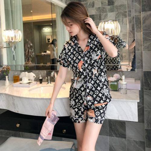 PJ4610-blackvl Baju Tidur Set Wanita Bahan Sutra Lembut