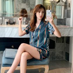 PJ4610-blue Baju Tidur Set Wanita Bahan Sutra Lembut