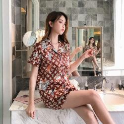PJ4610-coffeevl Baju Tidur Set Wanita Bahan Sutra Lembut