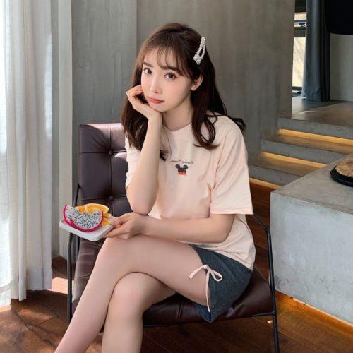 PJ4611-womanbeige Baju Santai Couple Comfy Woman