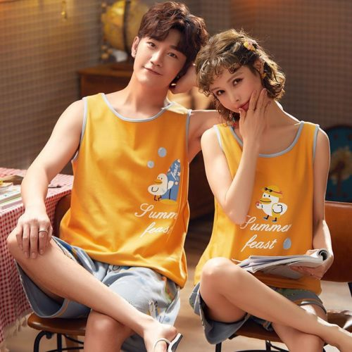 PJ4613-womanyellow Baju Santai Couple Comfy Woman