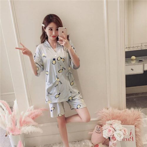 PJ4616-pineapple Baju Tidur Wanita Cantik Bahan Lembut