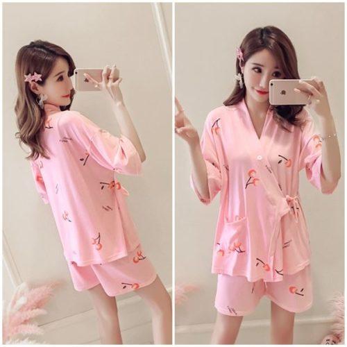 PJ4616-pinkcherry Baju Tidur Wanita Cantik Bahan Lembut