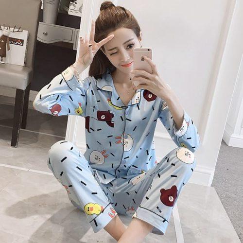 PJ4617-bluebear Baju Tidur Panjang Wanita Cantik Lembut