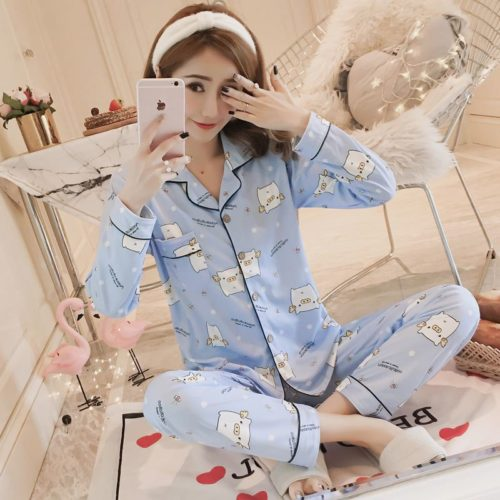 PJ4617-bluepig Baju Tidur Panjang Wanita Cantik Lembut