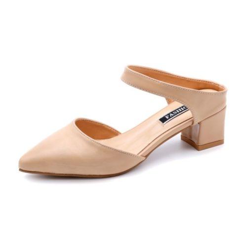 SHHA612-apricot Sepatu Heels Blok Wanita Cantik Import 4.5CM