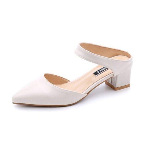 SHHA612-beige Sepatu Heels Blok Wanita Cantik Import 4.5CM