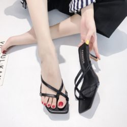 SHHA82-black Sepatu Heels Wanita Cantik Elegan Terbaru 7CM