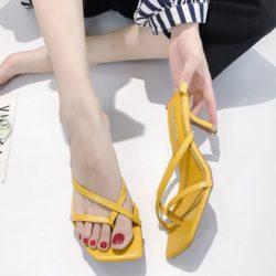SHHA82-yellow Sepatu Heels Wanita Cantik Elegan Terbaru 7CM
