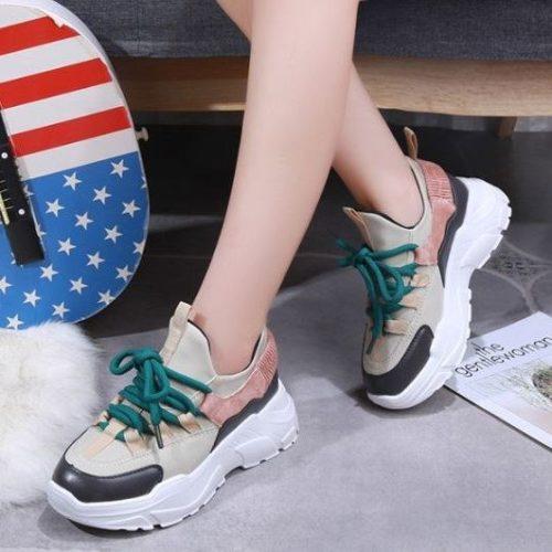 SHS138-beige Sepatu Sneakers Import Wanita Cantik Terbaru