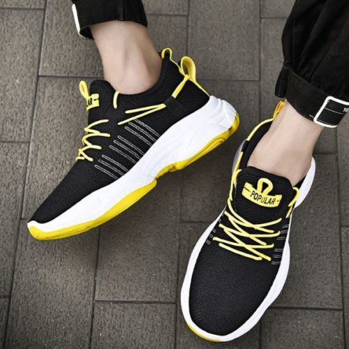 SHSWS1-blackyellow Sepatu Sneakers Pria  Modis Import Terbaru
